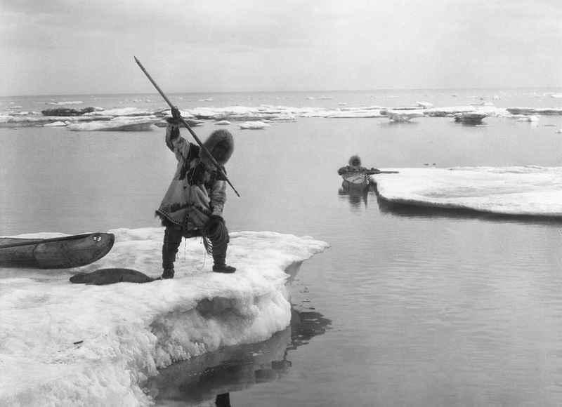 Inuit durante la caccia alla foca in Alaska (1903-1915). Photographer: Lomen Brothers, Nome, Alaska