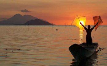 Pesca con aquilone e tela di ragno