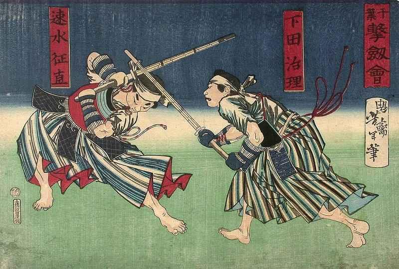 Tavoletta di legno del periodo Meiji che mostra due combattenti della scuola Hokushin Ittō-ryū che si affrontano al Chiba-Dōjō