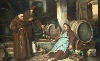 Monaci medievali in una cantina per la birra, Joseph Haier (1873)