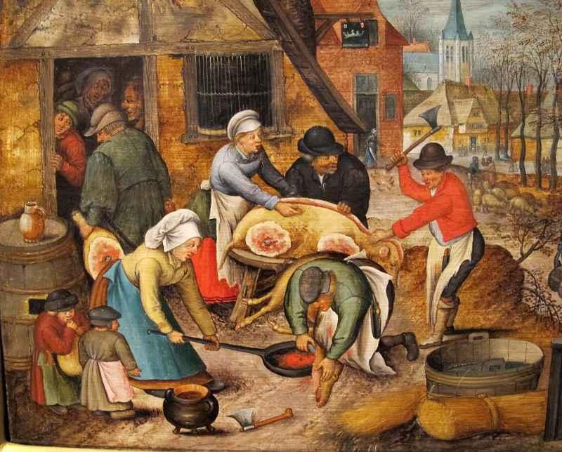 Macellazione di un maiale in un quadro del 1616 di Pieter Brueghel