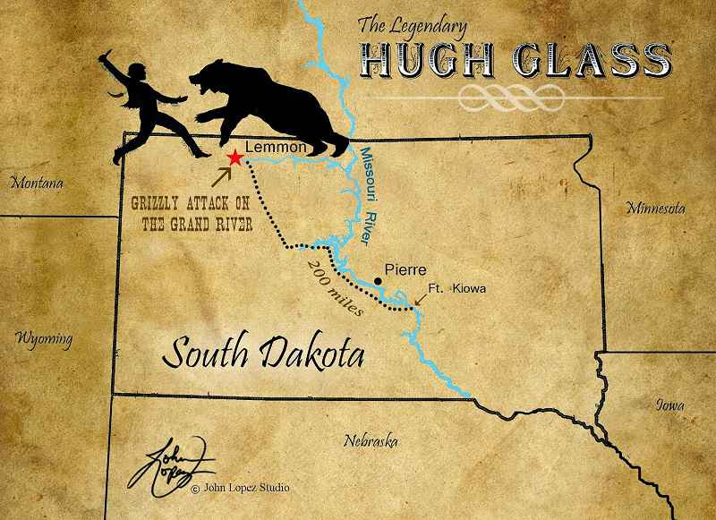 Il percorso di Hugh Glass fino a Fort Kiowa