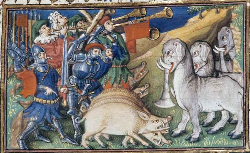 Maiali contro elefanti. Le Livre et le vraye hystoire du bon roy Alixandre, Francia, 1420.