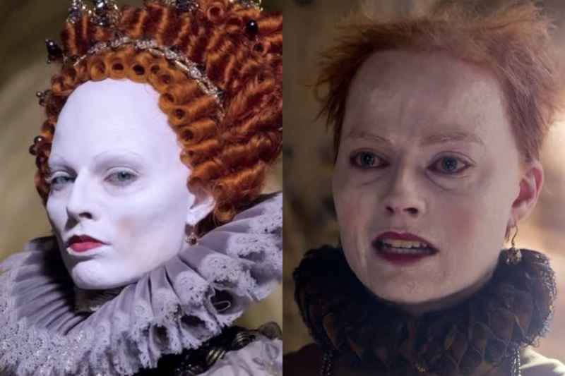 Margot Robbie nei panni della regina Elisabetta I, assidua utilizzatrice di cerussa