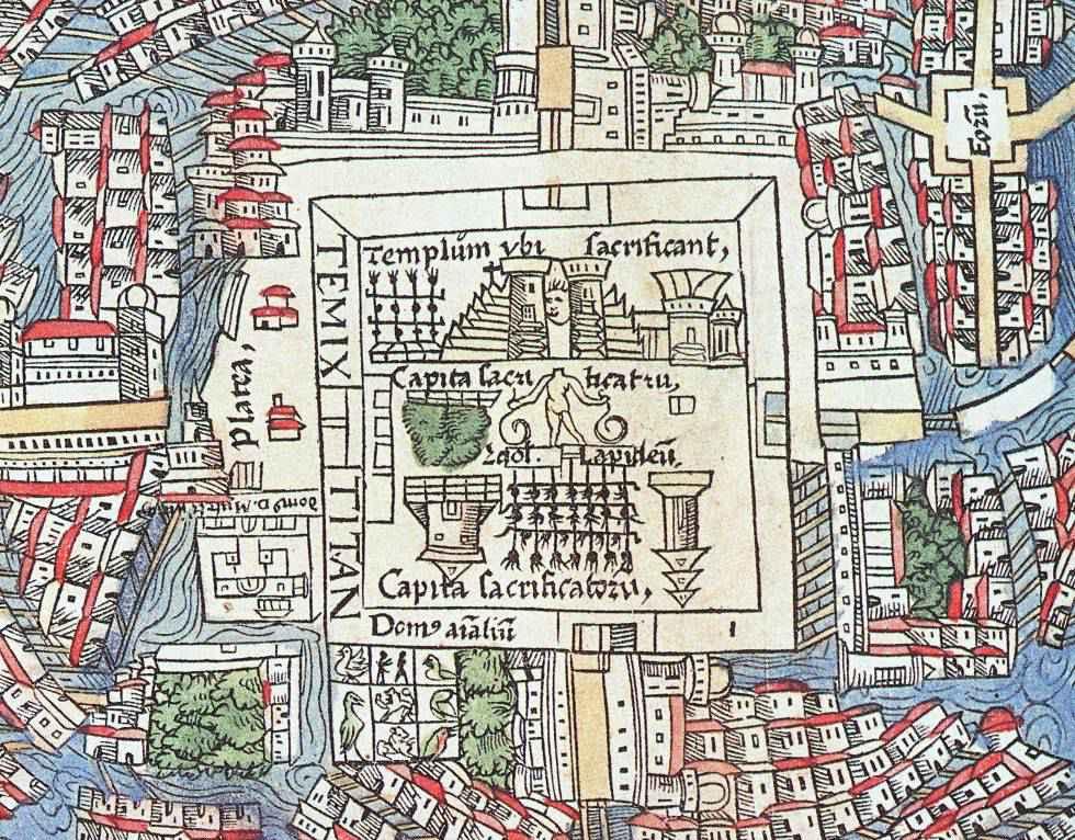 Mappa di Tenochtitlán nel 1524: il serraglio è il quadrato sotto il centro della città, suddiviso in 8 riquadri e popolato da uccelli e altri animali