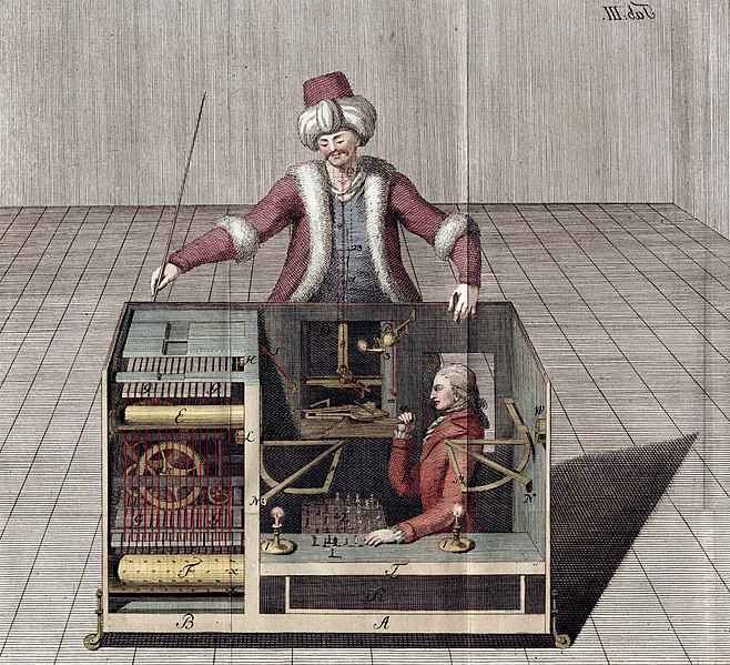 Joseph Racknitz, nel 1789, realizzò questa illustrazione per tentare di spiegare il funzionamento non meccanico del Turco di von Kempelen. Wikimedia Commons